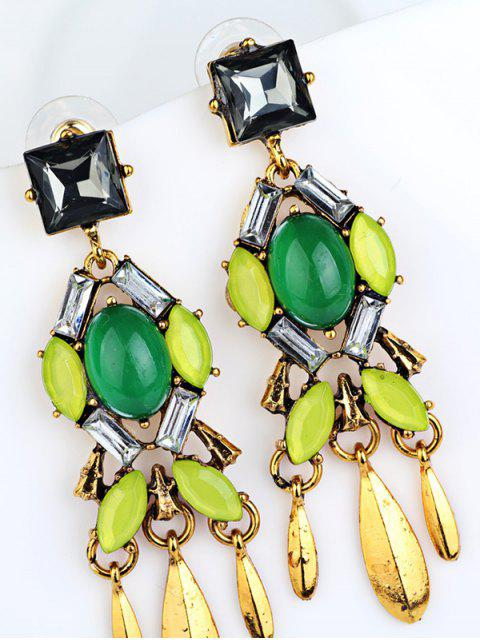 sale Geometric Faux Emerald Tassel Drop Earrings -   Mobile