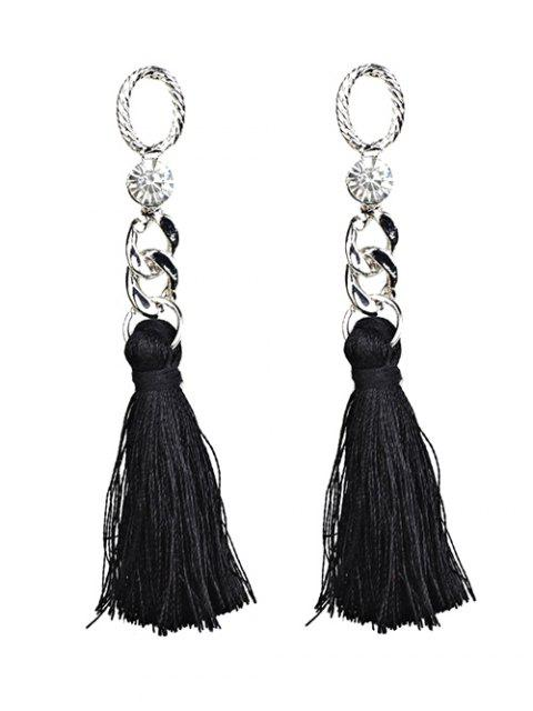 fancy Rhinestone Tassel Dangle Earrings - BLACK  Mobile