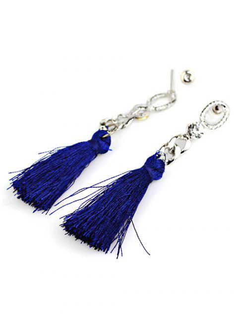 unique Rhinestone Tassel Dangle Earrings - BLUE  Mobile