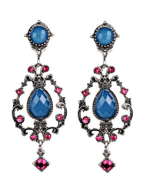 sale Rhinestone Water Drop Hollowed Earrings - BLUE  Mobile