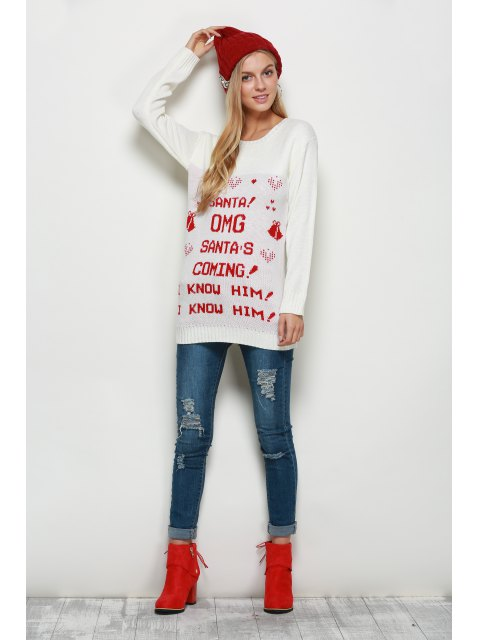 outfit Crew Neck Pullover Christmas Sweater - WHITE 2XL Mobile
