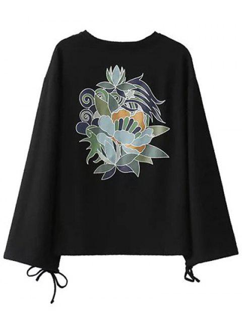 chic Long Sleeve Oversized Graphic Tee - BLACK S Mobile