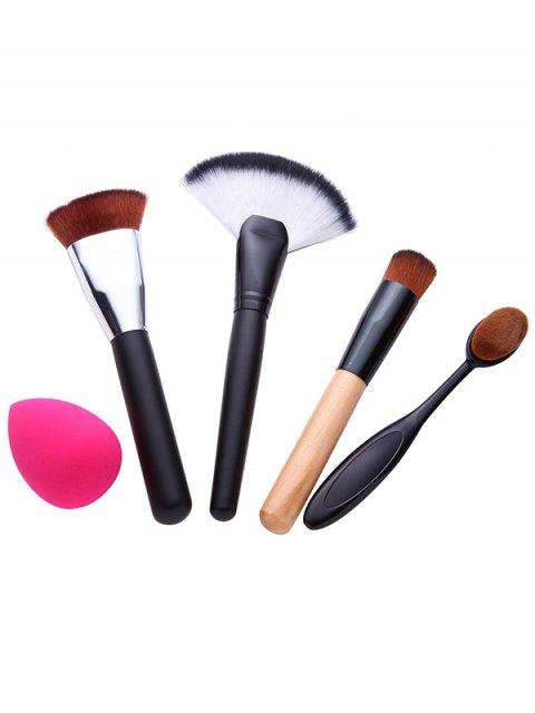 womens 4 Pcs Makeup Brushes Set and Makeup Sponge - BLACK  Mobile