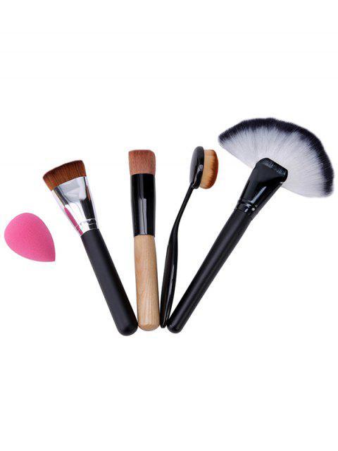 womens 4 Pcs Makeup Brushes Set and Makeup Sponge - BLACK  Mobile