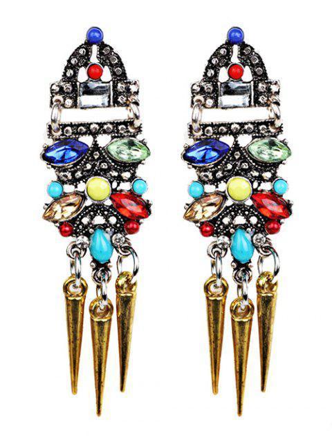 womens Faux Crystal Embellished Rivet Tassel Earrings -   Mobile
