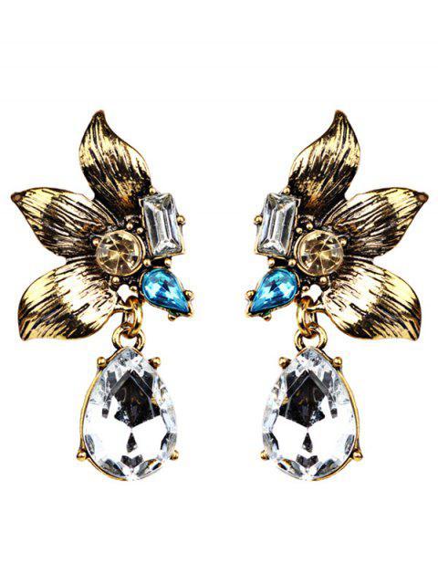 women's Water Drop Fake Crystal Petals Earrings -   Mobile