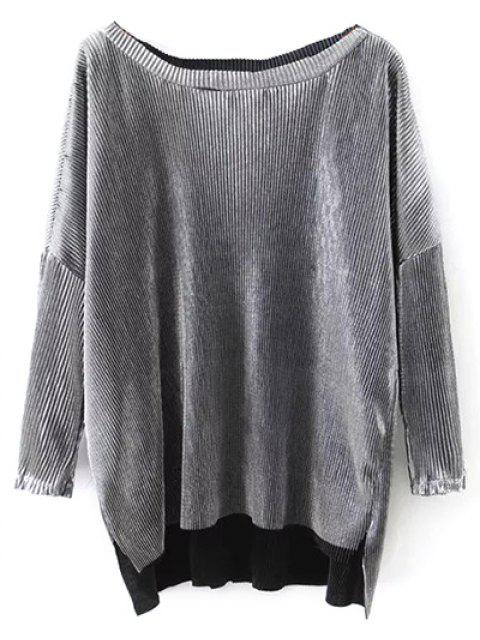 women's Metallic Color Dropped Shoulder Top - SILVER M Mobile