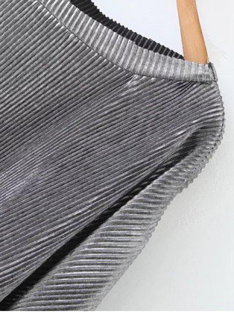 ladies Metallic Color Dropped Shoulder Top - SILVER S Mobile