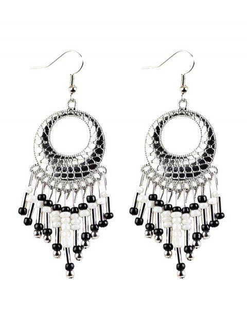 lady Beads Tassel Snakeskin Circle Drop Earrings -   Mobile
