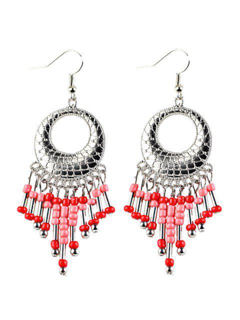 best Beads Tassel Snakeskin Circle Drop Earrings -   Mobile