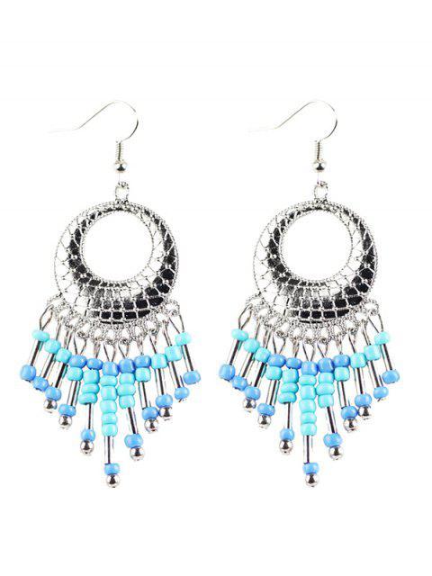 online Beads Tassel Snakeskin Circle Drop Earrings -   Mobile