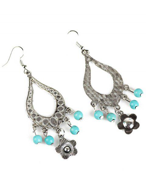 hot Bead Flower Hollowed Water Drop Earrings -   Mobile