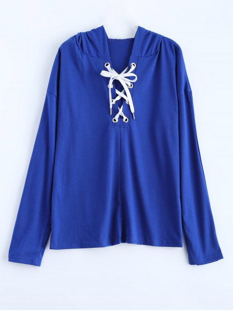 women Long Sleeve Lace Up Hooded T Shirt - BLUE M Mobile