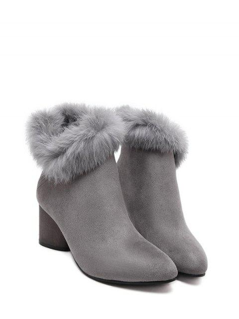 fashion Zip Pointed Toe Faux Fur Ankle Boots -   Mobile