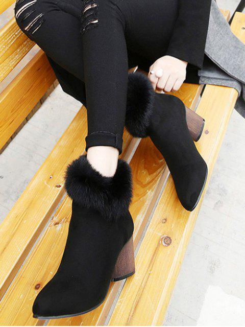 fancy Zip Pointed Toe Faux Fur Ankle Boots - BLACK 39 Mobile