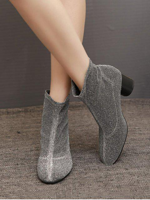 affordable Round Toe Chunky Heel Glitter Ankle Boots - SILVER GRAY 40 Mobile