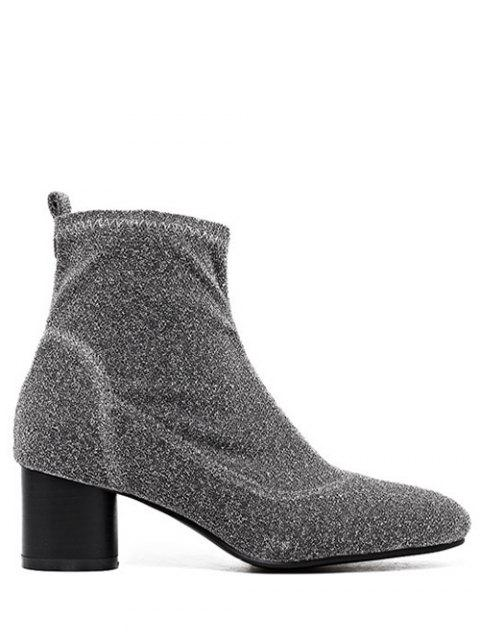 sale Round Toe Chunky Heel Glitter Ankle Boots - SILVER GRAY 39 Mobile