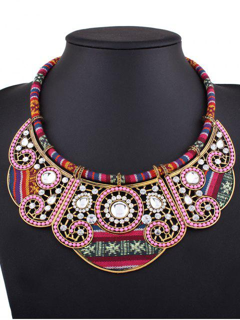 buy Rhinestone Floral Faux Collar Necklace -   Mobile