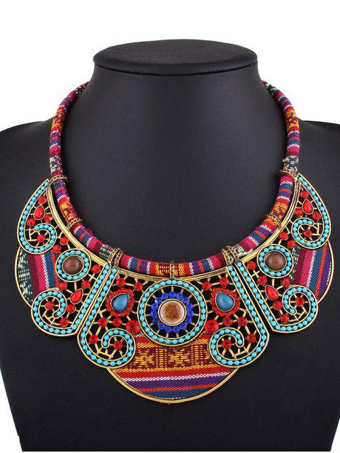 women Rhinestone Blossom Faux Collar Necklace - GOLDEN  Mobile