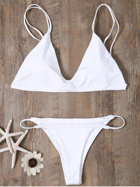 shops Low Waisted Spaghetti Straps Bikini Swimwear - WHITE XL Mobile