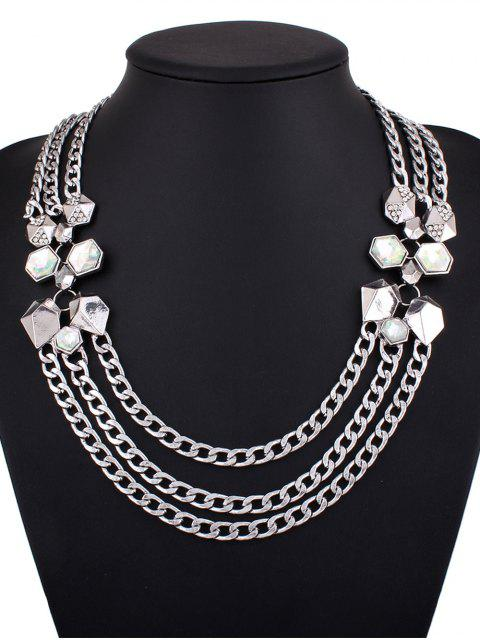 lady Alloy Rhinestone Geometric Chain Necklace - SILVER  Mobile
