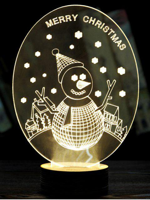 3D Christmas Snow LED Man Night Light - Blanc  Mobile