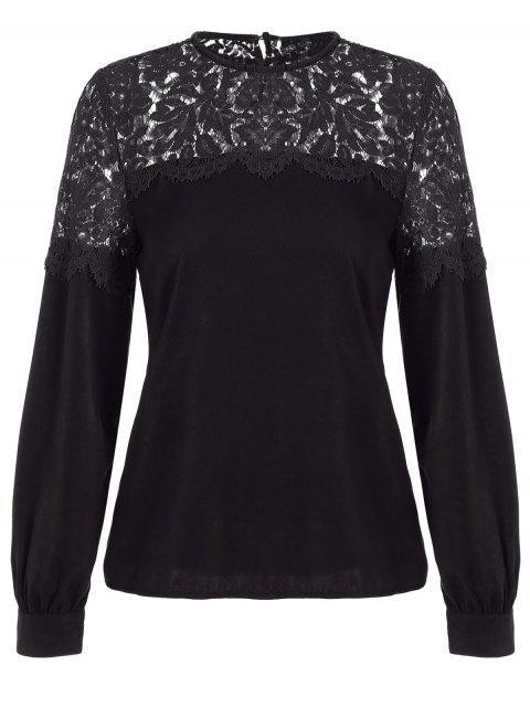 Lace Spliced Ausschnitt Bluse - Schwarz 2XL Mobile