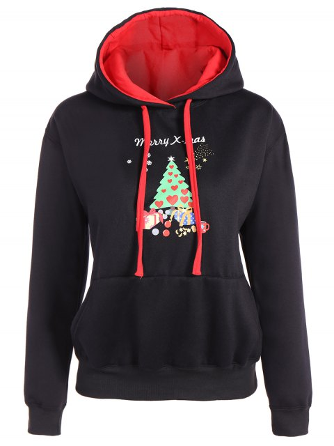 affordable Merry Christmas Front Pocket Hoodie - BLACK L Mobile