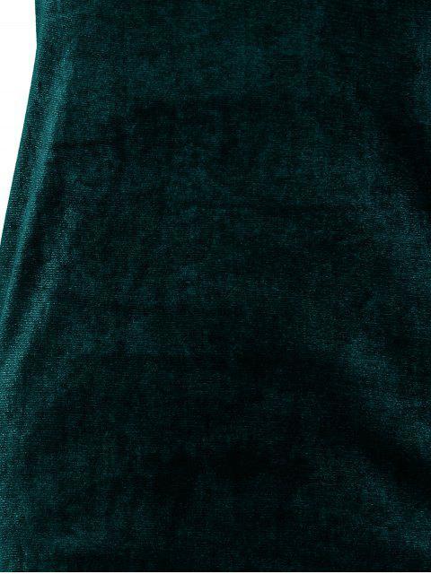 buy Short Sleeve Velvet Dress - BLACKISH GREEN S Mobile