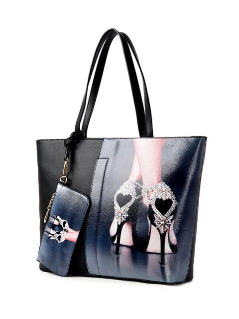 fashion Painted Shoulder Bag With Painted Wristlet -   Mobile