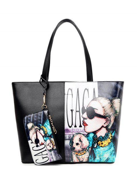 affordable Painted Shoulder Bag With Painted Wristlet -   Mobile