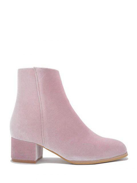 women Round Toe Zip Chunky Heel Ankle Boots -   Mobile