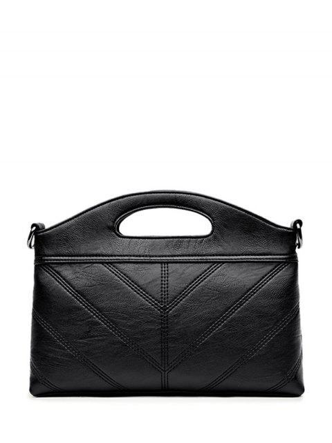womens Stitching PU Leather Handbag - BLACK  Mobile