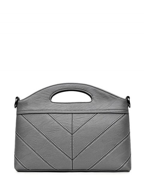 women Stitching PU Leather Handbag - GRAY  Mobile
