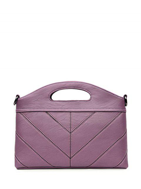 ladies Stitching PU Leather Handbag - PURPLE  Mobile
