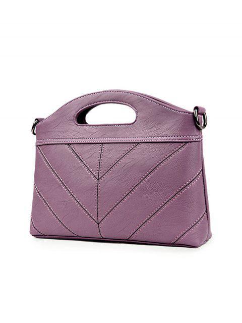 ladies Stitching PU Leather Handbag - PURPLE  Mobile
