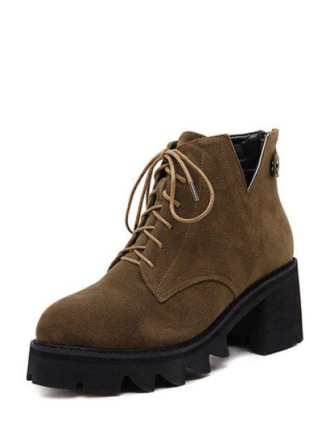 sale Slit Lace Up Chunky Heel Boots - DEEP BROWN 38 Mobile