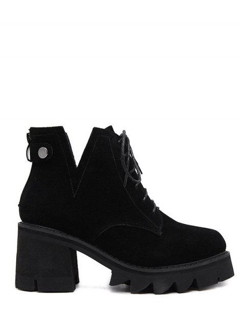 women Slit Lace Up Chunky Heel Boots - BLACK 38 Mobile