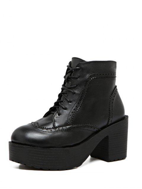 lady Engraving Plarform Chunky Heel Boots - BLACK 38 Mobile