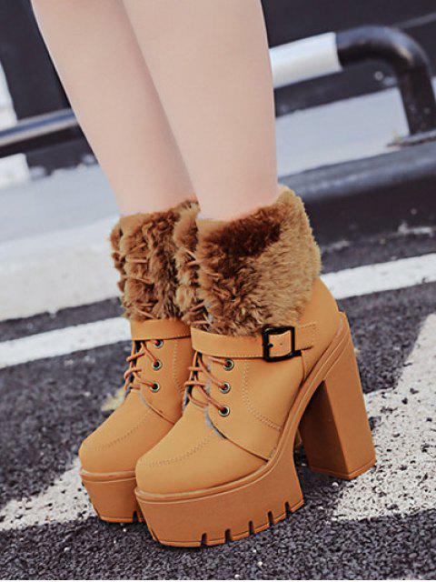new Faux Fur High Heel Short Boots - LIGHT BROWN 38 Mobile