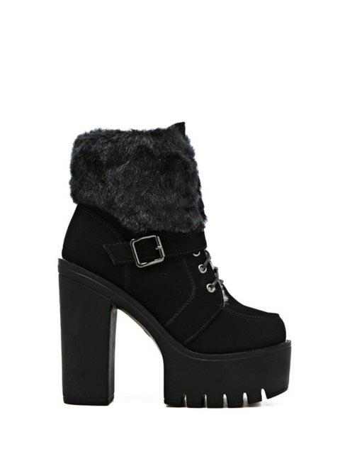 outfit Faux Fur High Heel Short Boots - BLACK 37 Mobile