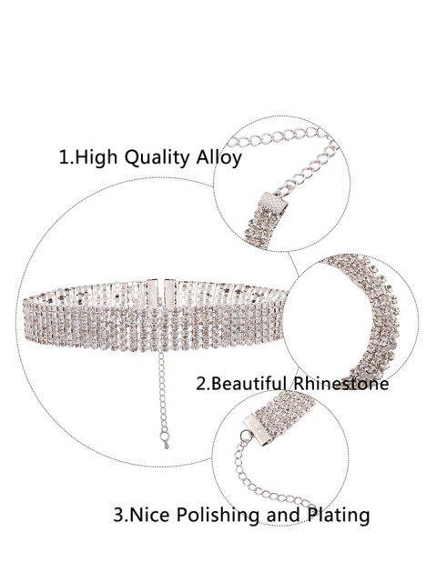 shop Alloy Rhinestone Necklace - WHITE  Mobile