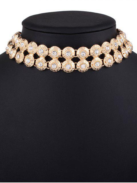 latest Adorn Rhinestone Circle Necklace - GOLDEN  Mobile
