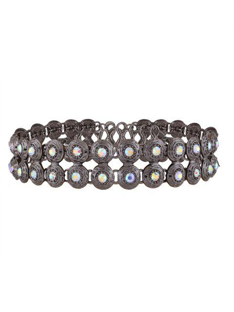 trendy Adorn Rhinestone Circle Necklace - GUN METAL  Mobile