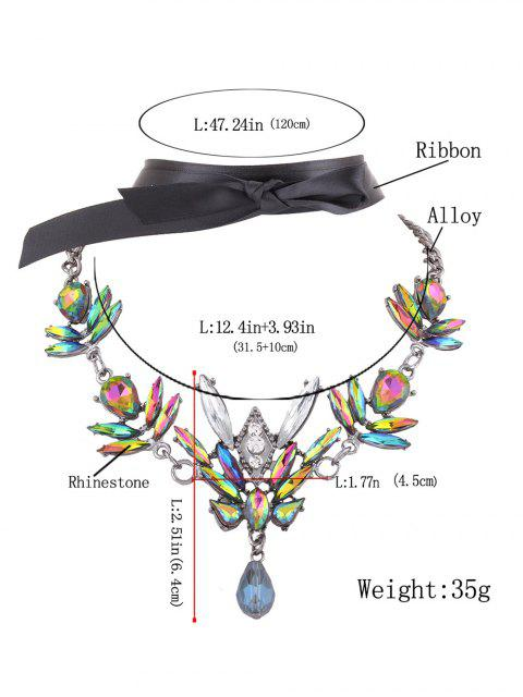 fashion Artificial Gem Necklace with Ribbon Choker - GREEN  Mobile