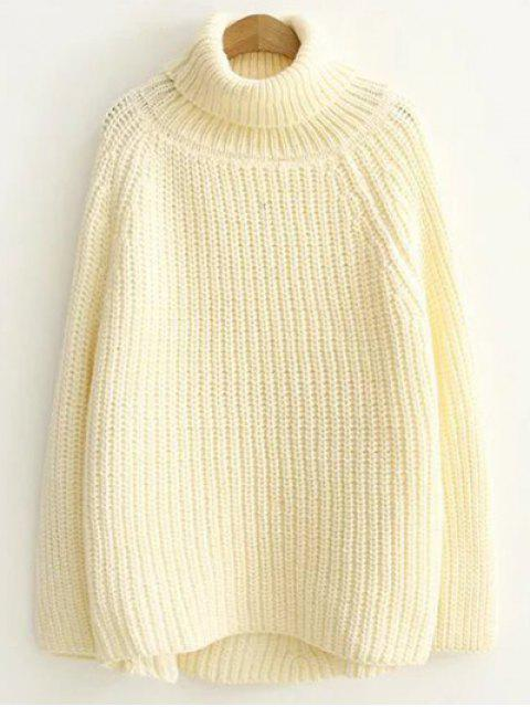 sale Turtleneck Chunky Pullover Sweater - OFF-WHITE ONE SIZE Mobile