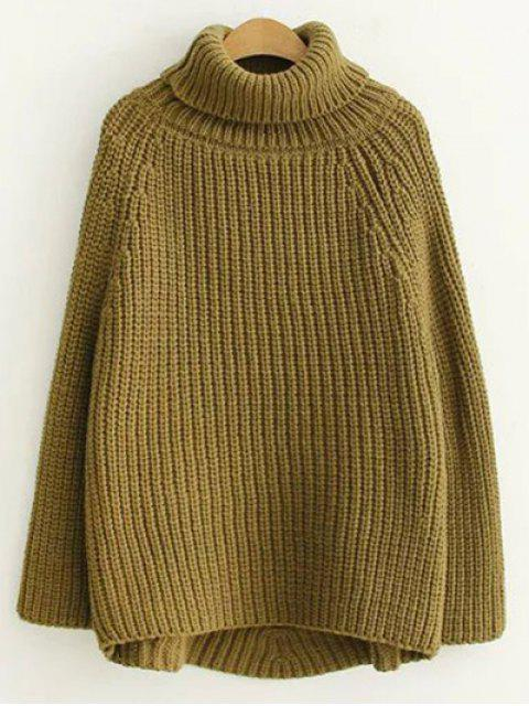 affordable Turtleneck Chunky Pullover Sweater - ARMY GREEN ONE SIZE Mobile