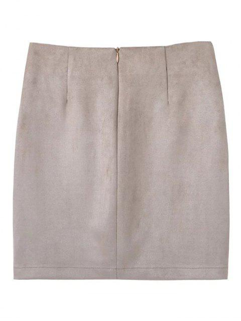 ladies Lace Up Faux Suede Mini Skirt - OFF-WHITE S Mobile