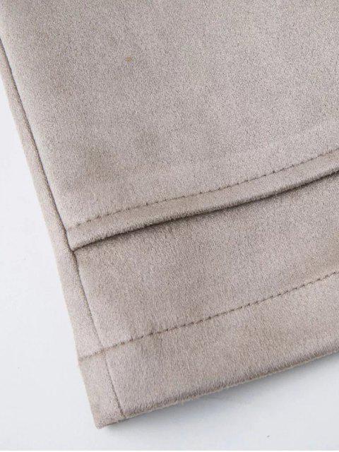 online Lace Up Faux Suede Mini Skirt - BLACK S Mobile