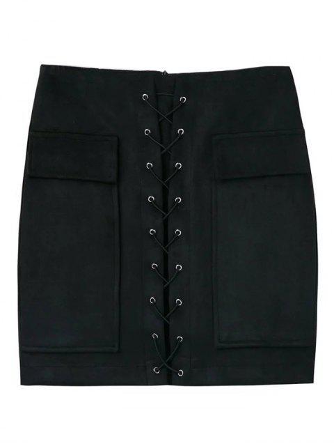 lady Lace Up Faux Suede Mini Skirt - BLACK L Mobile